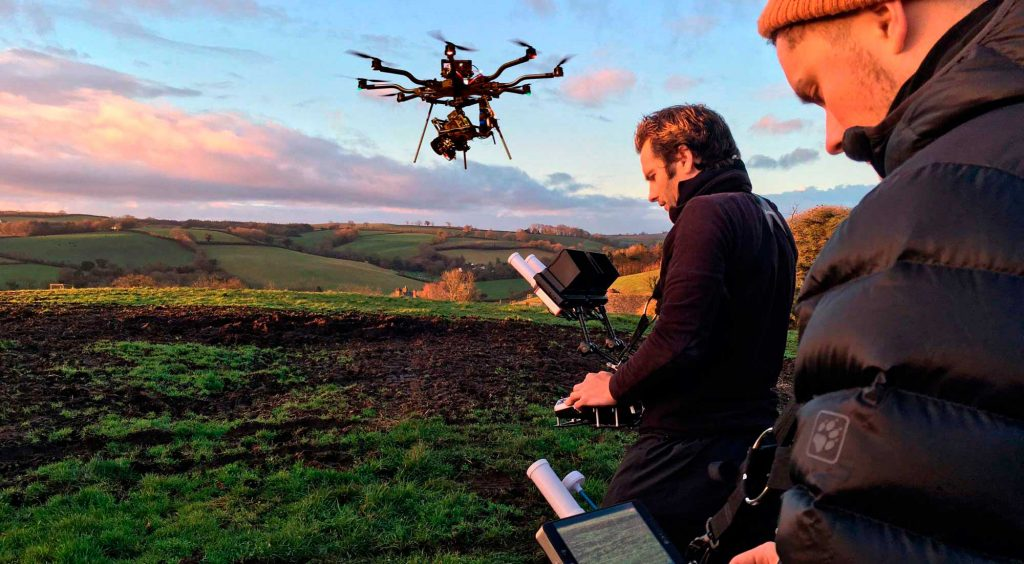 Drone aerial filming with Arri alexa mini for agriculture farmland